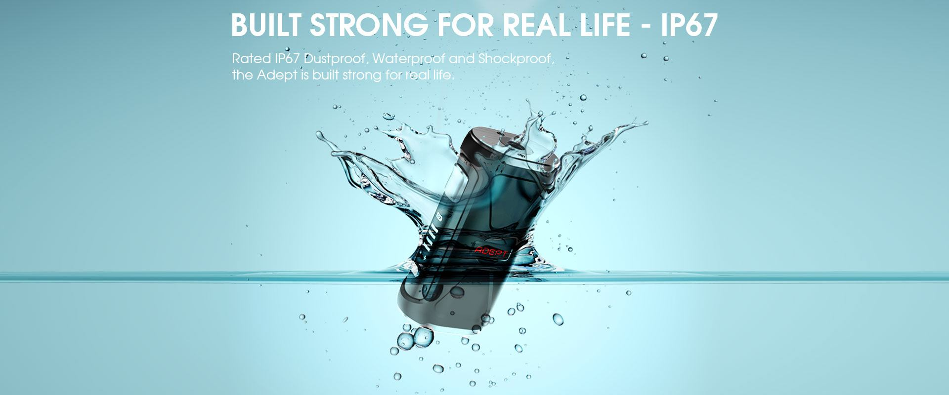 Adept waterproof dustproof and shockproof battery